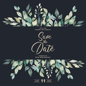Beautiful wedding invitation with watercolor leaves