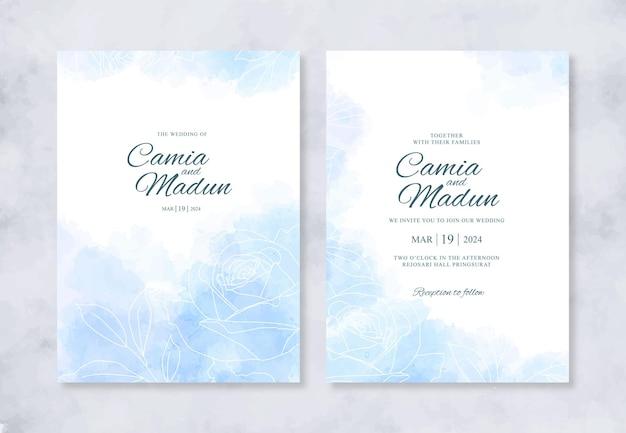 Красивое свадебное приглашение с акварельным всплеском