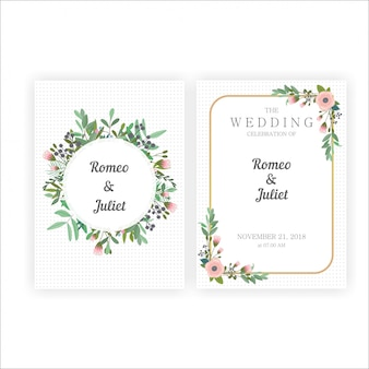Beautiful wedding invitations with gold and flower frames