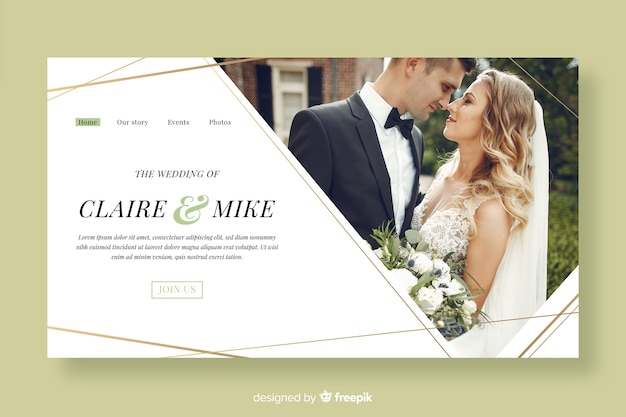 Beautiful wedding landing page template with photo