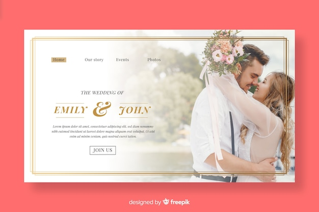 Beautiful wedding landing page with photo