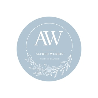Beautiful wedding logo in flat design