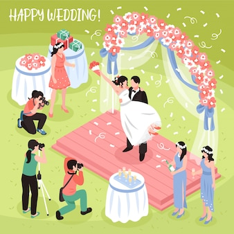 Beautiful wedding photo shoot and three professional photographers, isometric illustration