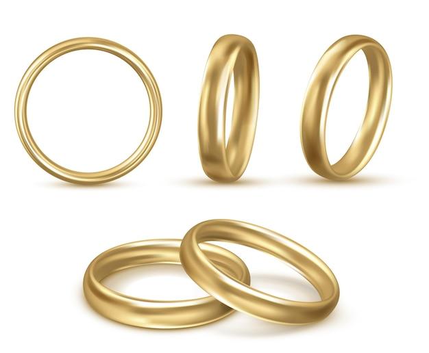 美しい結婚指輪のリアルなイラストセットセット