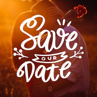 Beautiful wedding save the date with photo