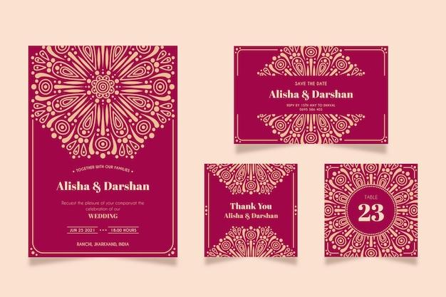 インドのカップルのための美しい結婚式の文房具