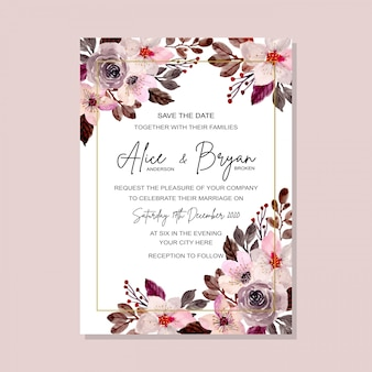 Beautiful wedding template with floral watercolor