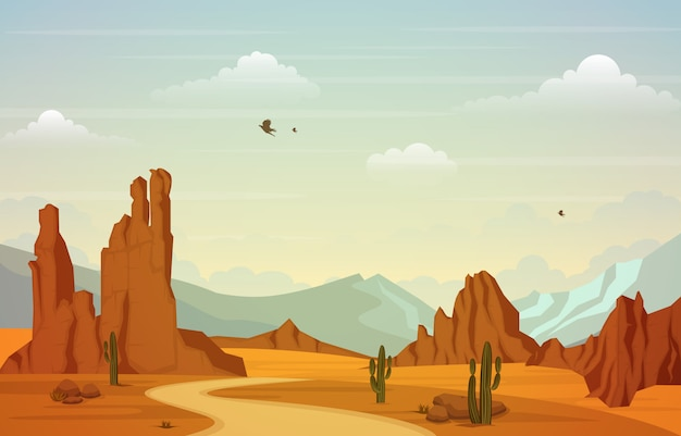 Beautiful western desert landscape with sky rock cliff mountain illustration