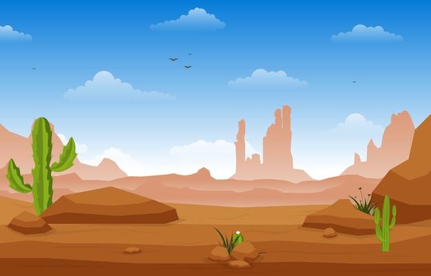 Beautiful western desert landscape with sky rock cliff mountain illustration