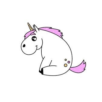 Красивый белый милый векторный единорог с розовой гривой и волшебным рогом