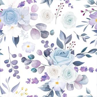 아름다운 흰색 꽃 원활한 패턴 디자인