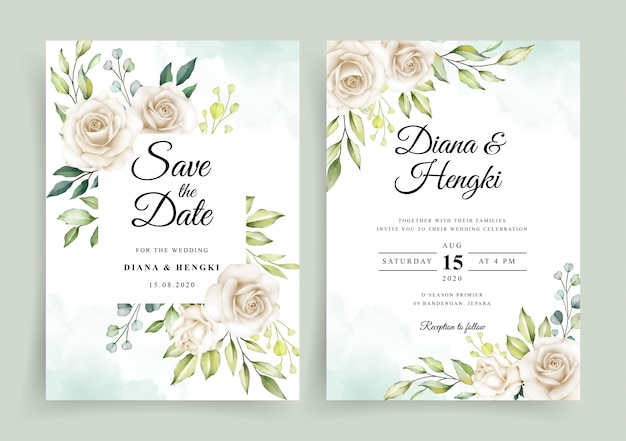 Красивая белая цветочная акварель на свадебном шаблоне пригласительного билета