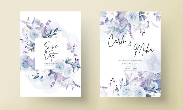 美しい白い花のウェディングカードテンプレート