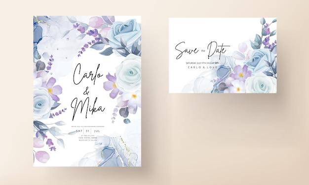 Beautiful white floral wedding card template
