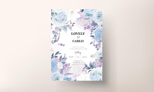 Bellissimo modello di biglietto di nozze floreale bianco