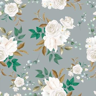 아름 다운 흰 꽃 원활한 패턴