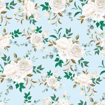 Beautiful white flower seamless pattern