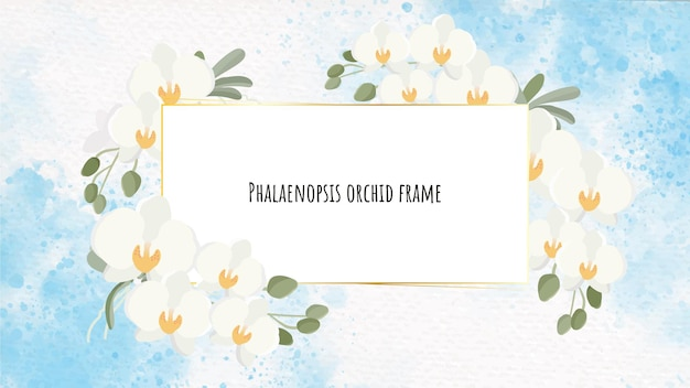 Beautiful white phalaenopsis orchid wreath with golden frame on blue watercolor splash