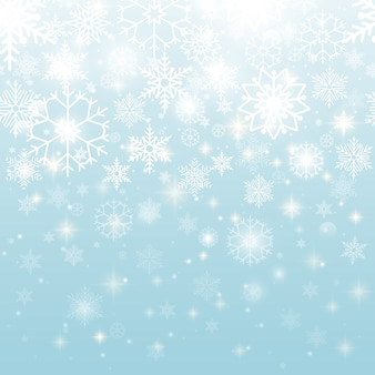 Beautiful white snowflakes in seamless pattern graphic design on sky blue background.