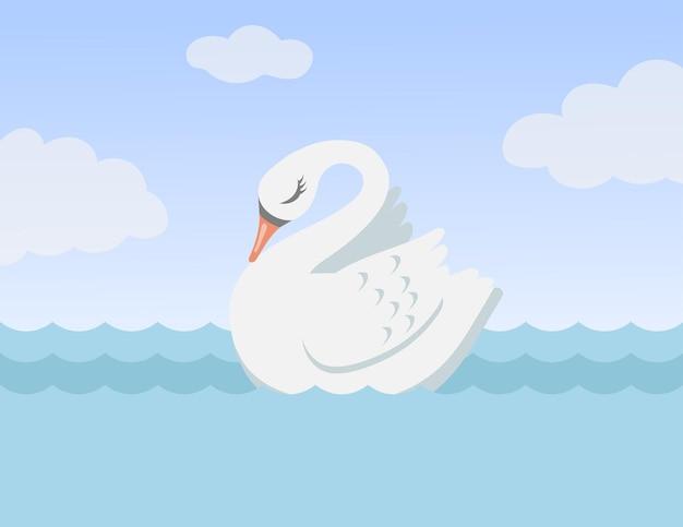 一人で泳ぐ美しい白い白鳥漫画イラスト。愛の象徴としての海や湖のかわいい鳥