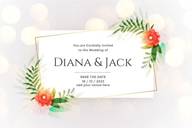 Beautiful white wedding card with bokeh effect