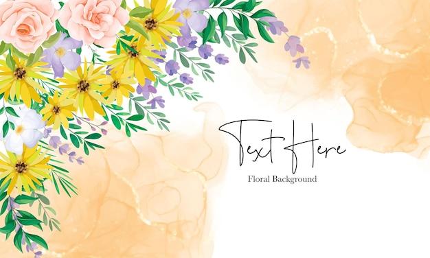알코올 잉크와 함께 아름다운 야생 꽃 꽃 배경