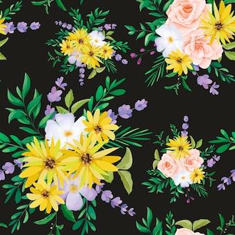 Beautiful wild flower seamless pattern design