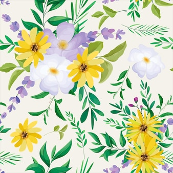 美しい野生の花のシームレスなパターンデザイン