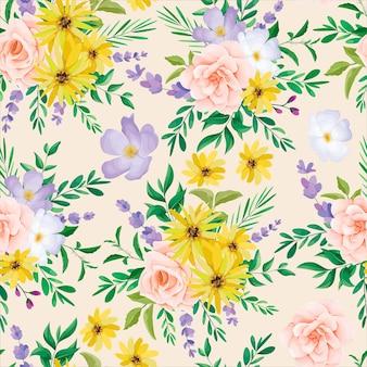 Красивый дикий цветок бесшовные модели дизайна Бесплатные векторы