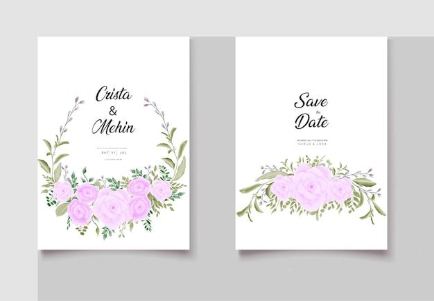 美しい野生の花の結婚式の招待カードのテンプレート