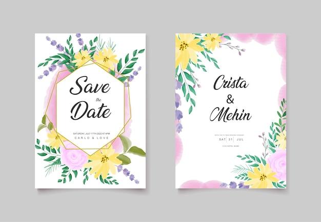 Beautiful wild flower wedding invitation card