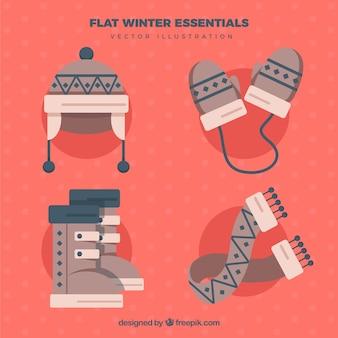 Beautiful winter accessories in flat design