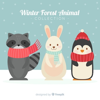 Beautiful winter animals background
