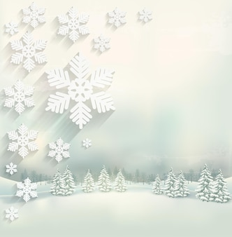 Beautiful winter background with a landscape and a snowflake design. vector.