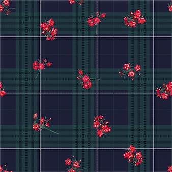 Beautiful winter black wash tartan layer on red little flowers seamless pattern in vector, design for fashion, fabric, wallpaper, and all prints