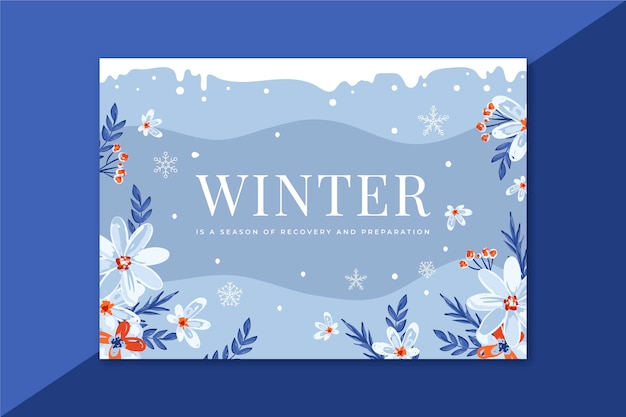 Beautiful winter card with flowers