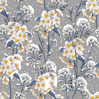 Beautiful winter flower blooming in the snow delicate floral seamless pattern