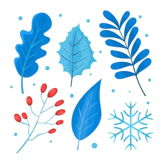Beautiful winter flower leaf floral collection vector set used for decoration background