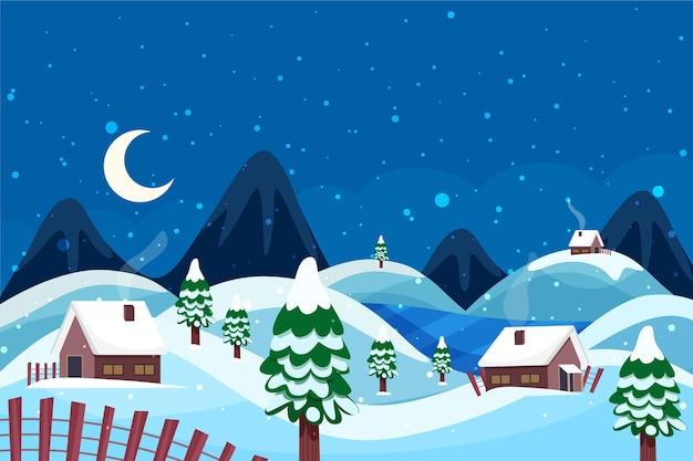 Красивый зимний пейзаж фон с домами