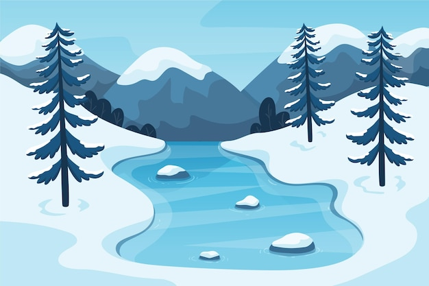 Красивый зимний пейзаж фон