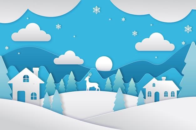 Красивый зимний пейзаж в бумажном стиле