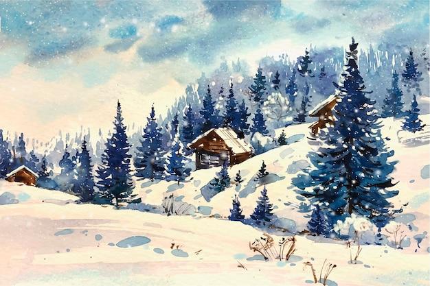 Красивый зимний пейзаж акварелью