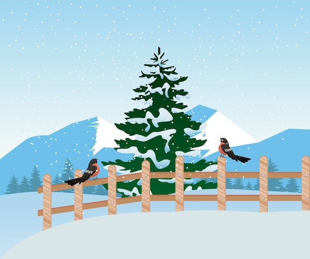 Beautiful winter landscape scene with pine tree and robin in fence  illustration