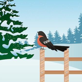 フェンスのイラストで木とロビンと美しい冬の風景シーン