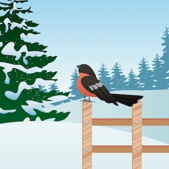 Beautiful winter landscape scene with tree and robin in fence  illustration