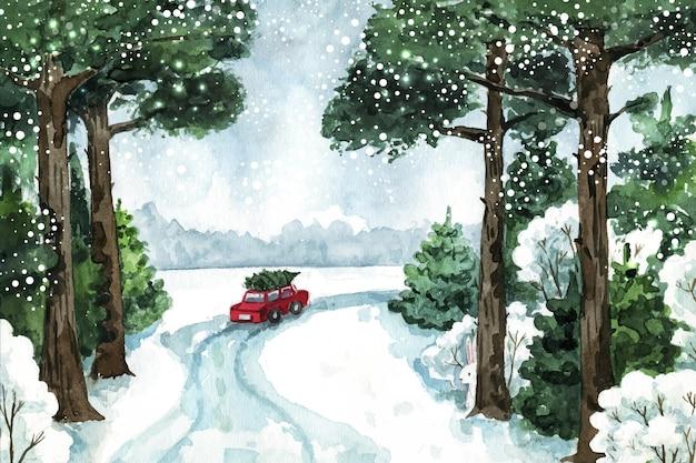 Beautiful winter landscape in watercolor