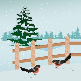 鳥とフェンスのシーンのイラストと美しい冬の風景