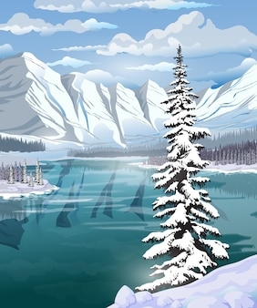 Beautiful winter landscape with an emerald lake, forest, mountains and a large spruce