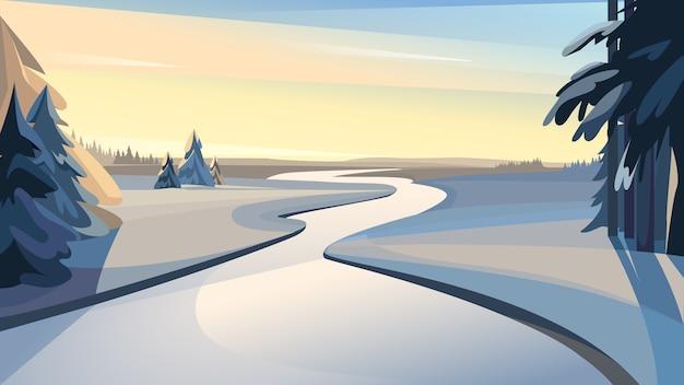 일몰에 얼어 붙은 강의 아름다운 겨울 풍경