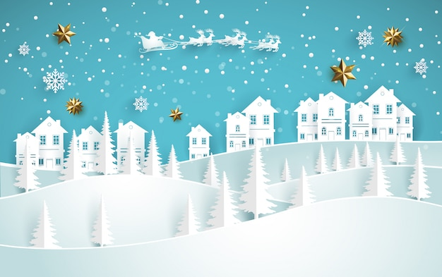 Beautiful winter scenery on a snowy hill with a house. paper art design